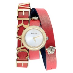 Versace V-Flare Red Leather Double Wrap Watch VEBN00418