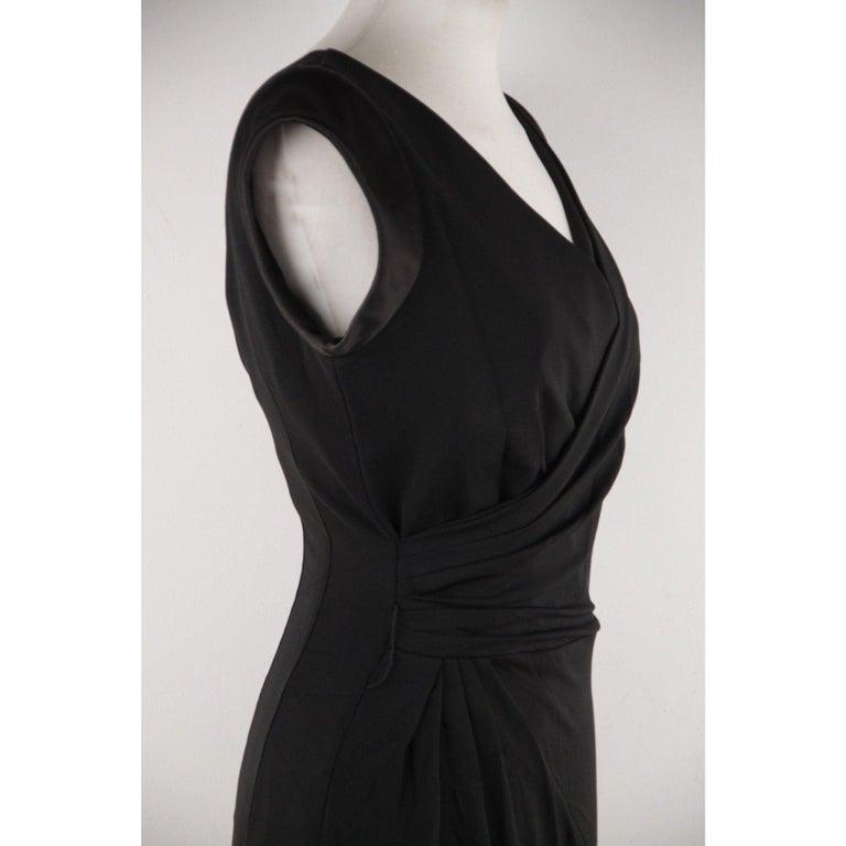 Women's VERSACE V Neck LITTLE BLACK DRESS Sheath w/ Drape Front SIZE 40 For Sale