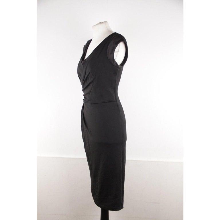 VERSACE V Neck LITTLE BLACK DRESS Sheath w/ Drape Front SIZE 40 For Sale 1