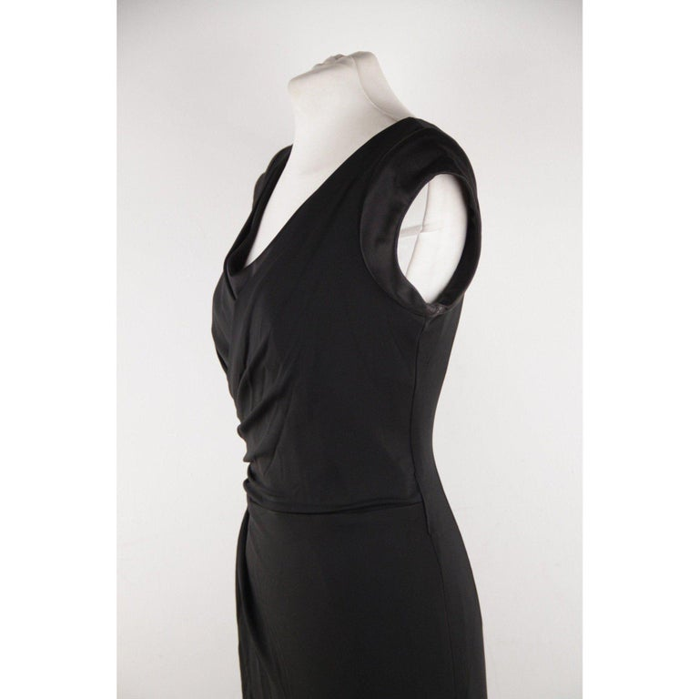 VERSACE V Neck LITTLE BLACK DRESS Sheath w/ Drape Front SIZE 40 For Sale 2