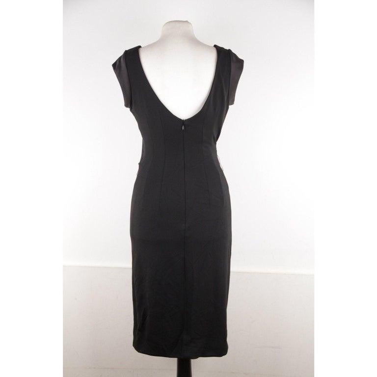 VERSACE V Neck LITTLE BLACK DRESS Sheath w/ Drape Front SIZE 40 For Sale 3