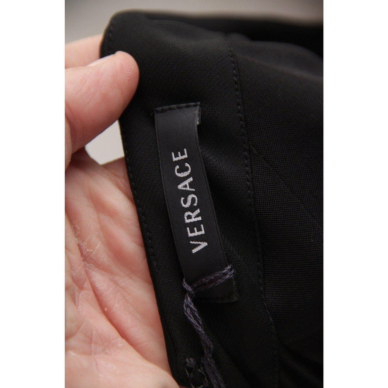 VERSACE V Neck LITTLE BLACK DRESS Sheath w/ Drape Front SIZE 40 For Sale 4