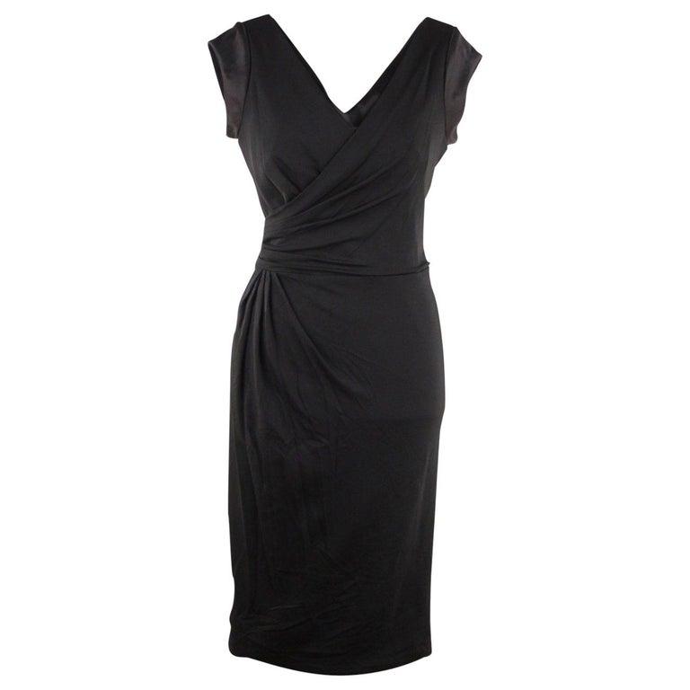 VERSACE V Neck LITTLE BLACK DRESS Sheath w/ Drape Front SIZE 40 For Sale
