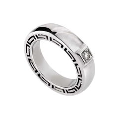 Versace V-Profile 18 Karat White Gold Diamond Ring