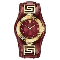 Versace V-Signature VLA03 0014 Gold Plated Burgundy Watch