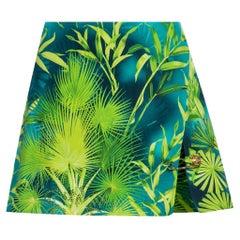 Versace Verde Jungle Print High Waisted Side Slit Safety Pin Mini Skirt Size 38