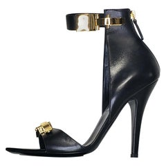 VERSACE VERSUS BLACK LEATHER ANTHONY VACCARELLO Editions Sandals