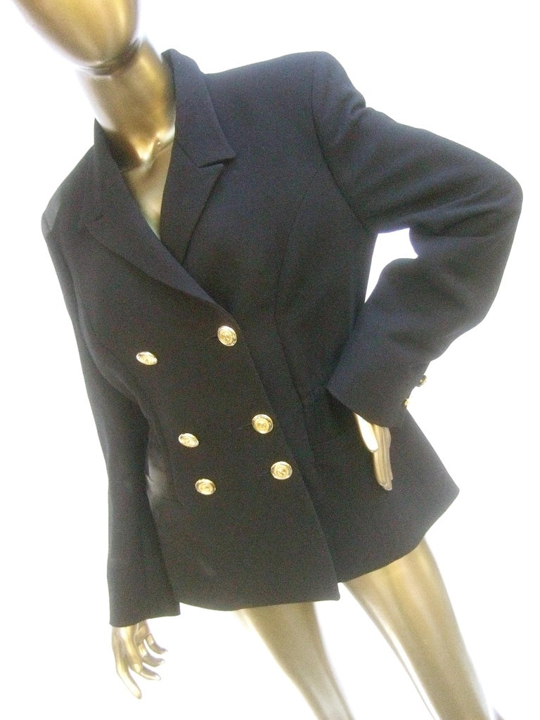 Versace Versus Black Wool Military Style Jacket Circa 1990s In Good Condition For Sale In Santa Barbara, CA