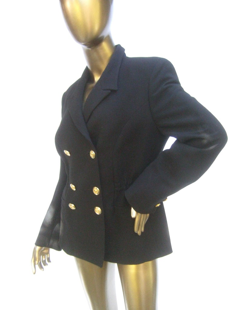 Women's Versace Versus Black Wool Military Style Jacket Circa 1990s For Sale