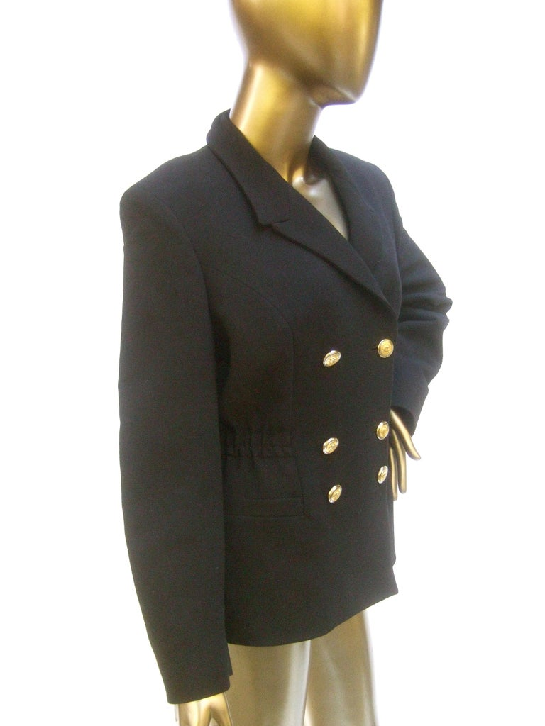 Versace Versus Black Wool Military Style Jacket Circa 1990s For Sale 3