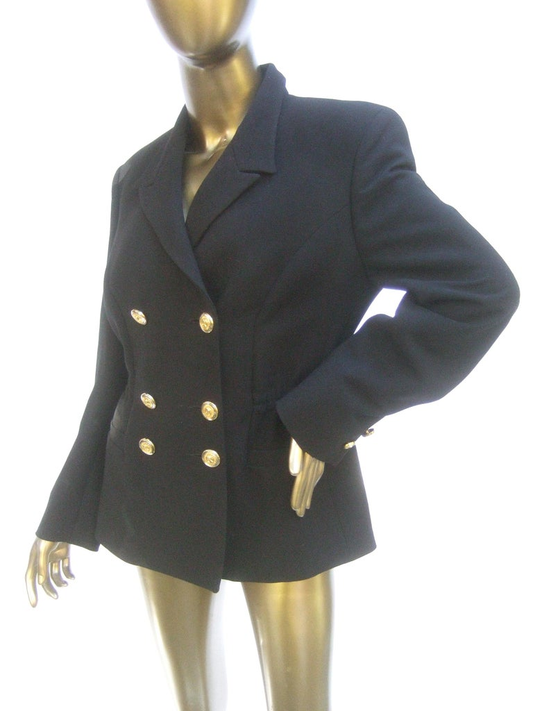 Versace Versus Black Wool Military Style Jacket Circa 1990s For Sale 4