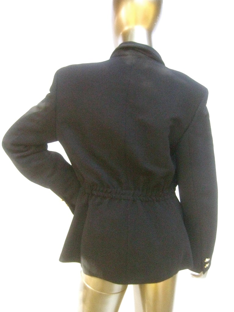 Versace Versus Black Wool Military Style Jacket Circa 1990s For Sale 5