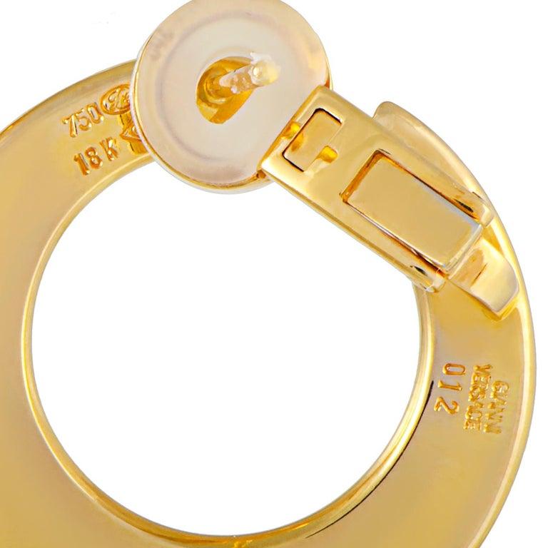 Women's Versace Vintage 18 Karat Yellow Gold and Enamel Earrings For Sale