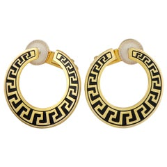 Versace Vintage 18 Karat Yellow Gold and Enamel Earrings