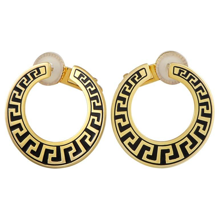 Versace Vintage 18 Karat Yellow Gold and Enamel Earrings For Sale