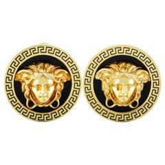 Versace Vintage 18 Karat Yellow Gold Enamel Medusa Earrings