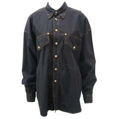 Versace Vintage 1990s Oversize Classic Black Western Button Down Shirt