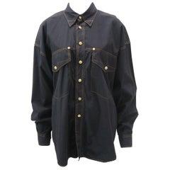 Versace Vintage 1990s Oversize Classic Black Western Button Down Shirt