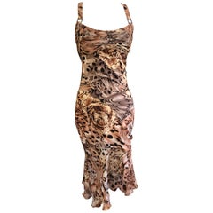 Versace Vintage '99 Pleated Silk Leopard and Orchid Print Silk Racerback Dress