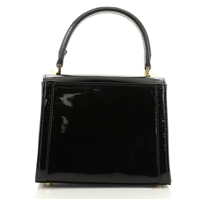 Versace Vintage Convertible Top Handle Bag Patent and Calf Hair Mini In Good Condition For Sale In New York, NY
