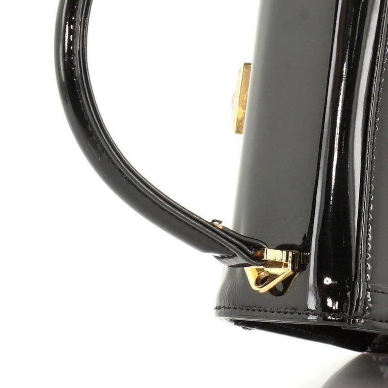 Versace Vintage Convertible Top Handle Bag Patent and Calf Hair Mini For Sale 3