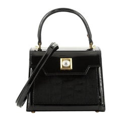 Versace Vintage Convertible Top Handle Bag Patent and Calf Hair Mini