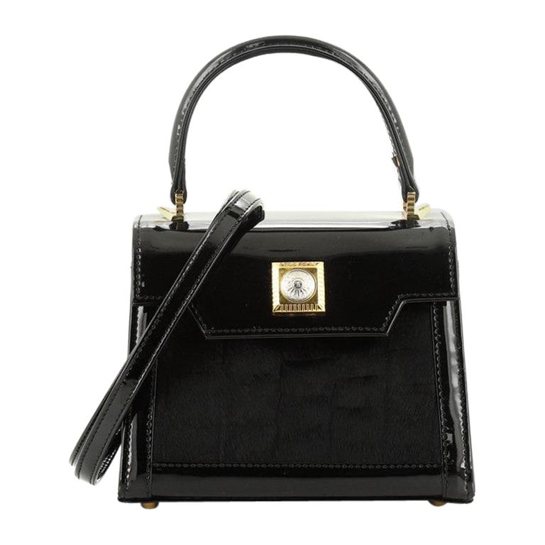 Versace Vintage Convertible Top Handle Bag Patent and Calf Hair Mini For Sale