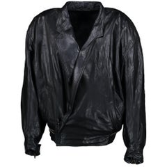 Versace Vintage Leather Black Jacket  - Size TU