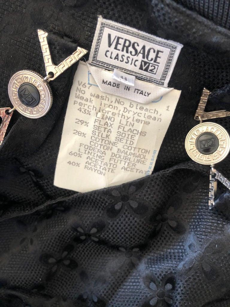 Versace Vintage V2 Versace Classic 1980's Black Jacquard Cocktail Dress For Sale 6