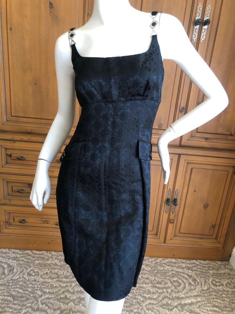 """Versace Vintage V2 Versace Classic 1980's Black Jacquard Cocktail Dress. Iinen silk cotton blend, very soft. Size 44, but runs small Bust 37"""" Waist 30"""" Hip 42"""" Length 31"""""""