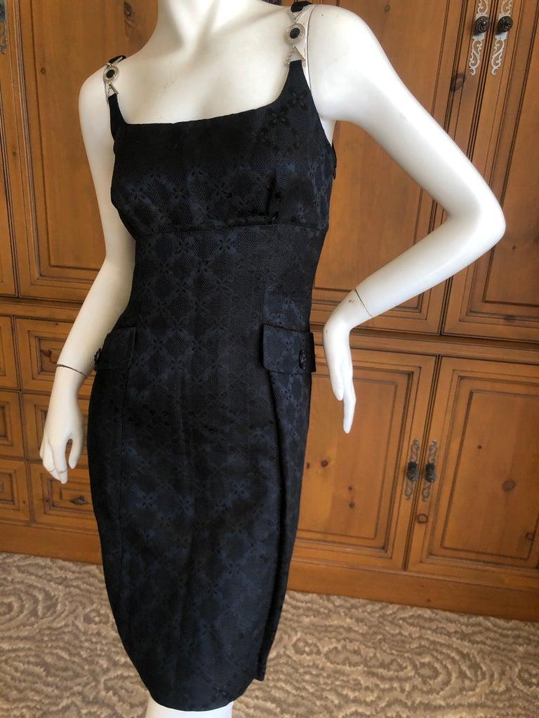 Versace Vintage V2 Versace Classic 1980's Black Jacquard Cocktail Dress For Sale 2