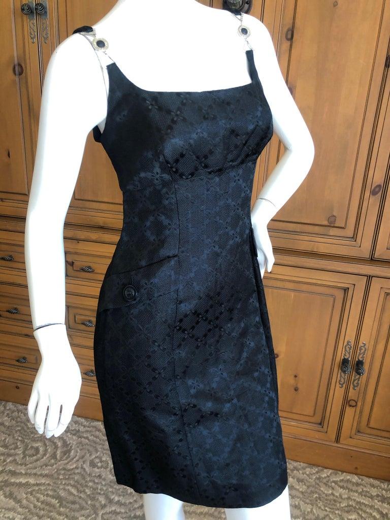 Versace Vintage V2 Versace Classic 1980's Black Jacquard Cocktail Dress For Sale 4