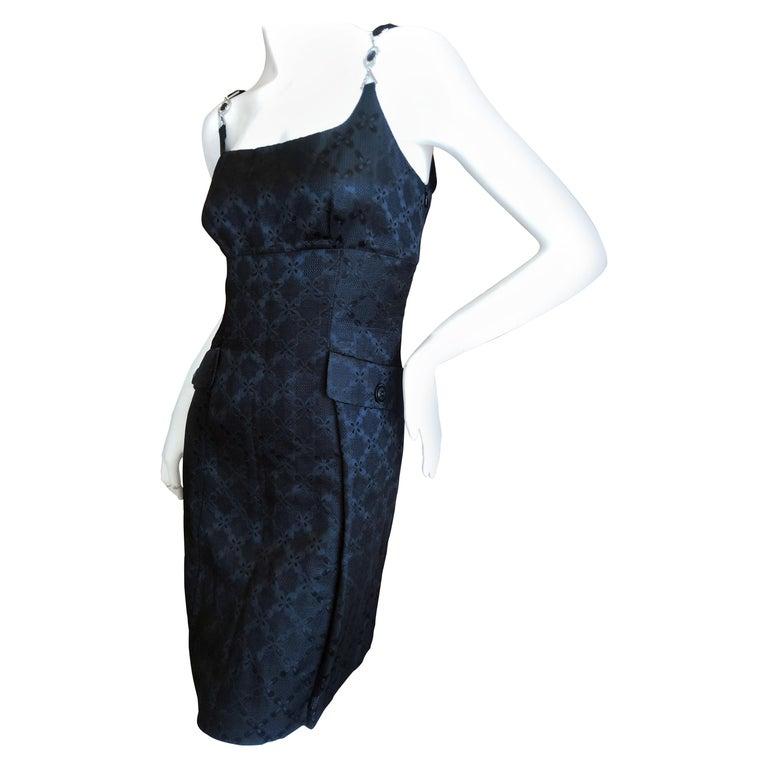 Versace Vintage V2 Versace Classic 1980's Black Jacquard Cocktail Dress For Sale