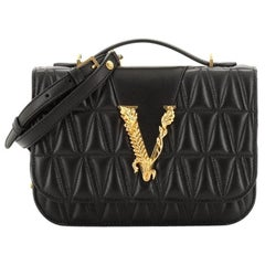 Versace  Virtus Shoulder Bag Quilted Leather Small
