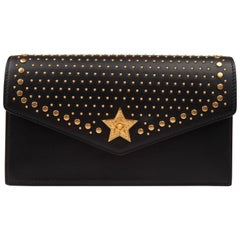 Versace Western Studded Black Leather Clutch Evening Bag with Gold Tone Chain
