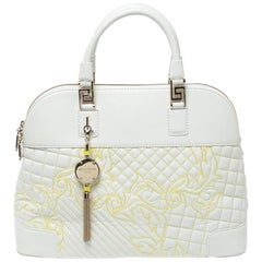 Versace White Barocco Quilted Leather Athena Vanitas Satchel