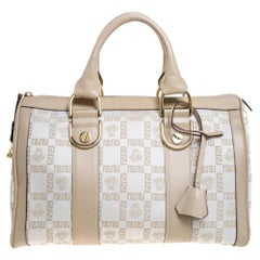 Versace White/Beige Monogram Satin and Leather Bag