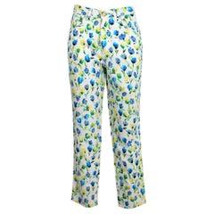 Versace White Blue Cotton Floral Capri Straight Trousers