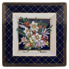 Versace White Blue Rosenthal Porcelain Square Ashtray Floral Theme