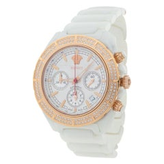 Versace White Ceramic Rose Gold Plated Stainless Steel Unisex Wristwatch 40 mm
