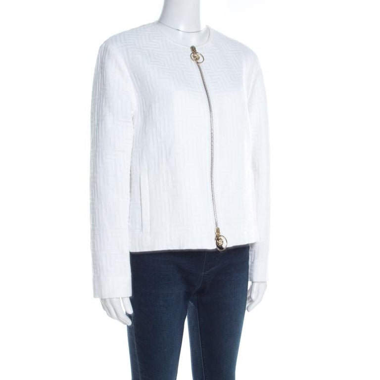 Gray Versace White Cotton Linen Embossed Zip Front Jacket M For Sale
