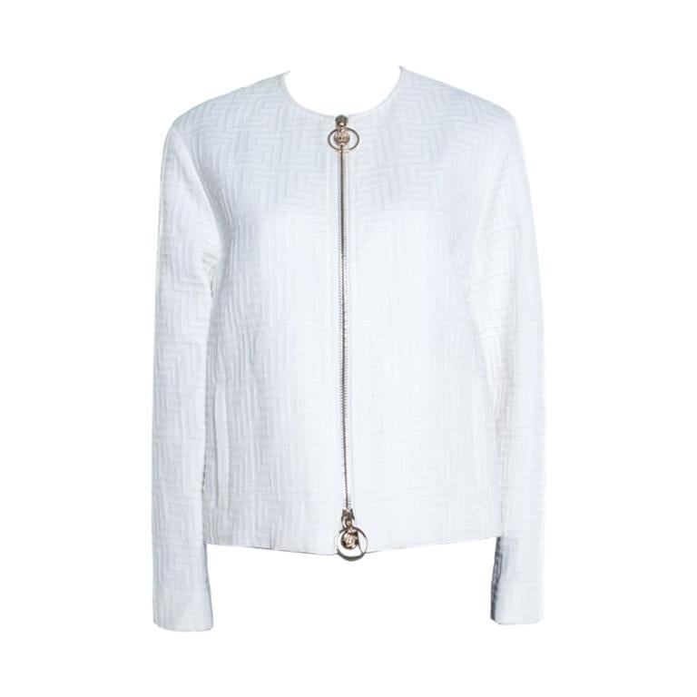 Versace White Cotton Linen Embossed Zip Front Jacket M For Sale