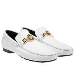 Versace White Deer Skin Signature Loafers Shoes **as seen in movie
