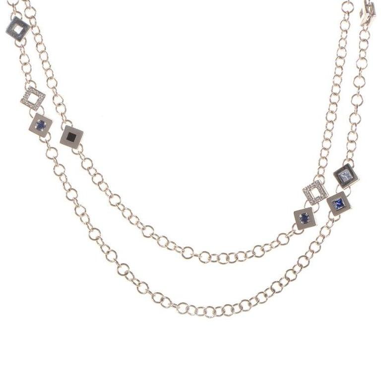 Women's Versace White Diamond and Gemstone 18 Karat White Gold Necklace For Sale