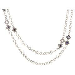Versace White Diamond and Gemstone 18 Karat White Gold Necklace