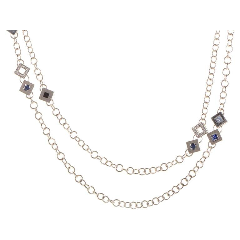 Versace White Diamond and Gemstone 18 Karat White Gold Necklace For Sale