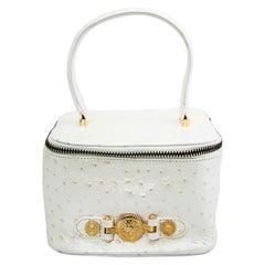Versace White Faux Ostrich Vanity Case Bag