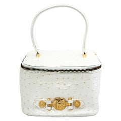 Versace White Faux Ostrich Vanity Case Bag