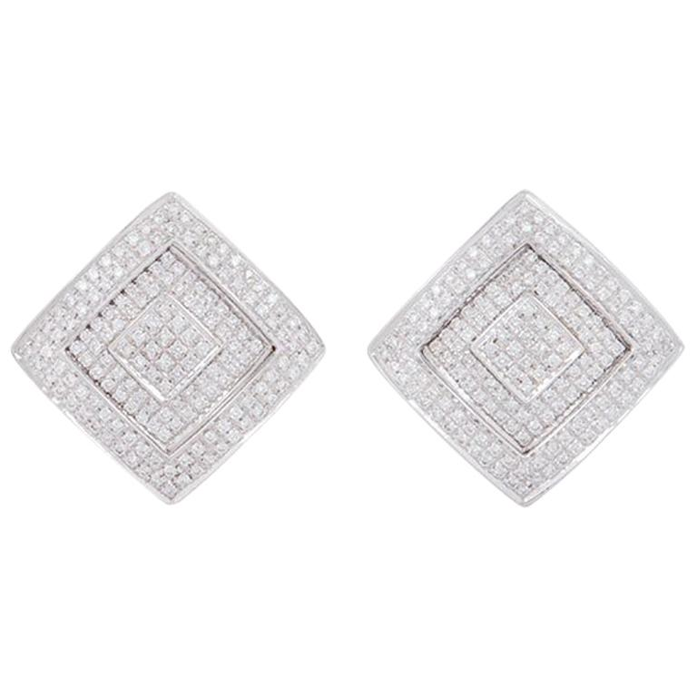 Versace White Gold Diamond Square Earrings 1 10 Carat