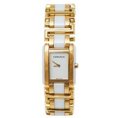 Versace White Gold Plated Stainless Steel Ceramic Era Women's Wristwatch 25 mm